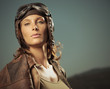 Woman aviator: fashion model portrait
