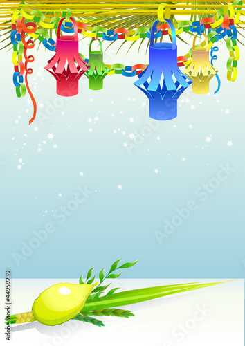 Happy Sukkot with decorative elements