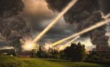 Meteorite shower destroying buildings