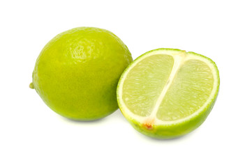 Whole Lime and Half of Lime Isolated on White Background
