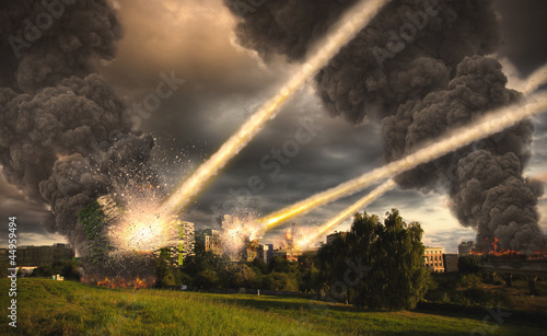 Meteorite shower destroying buildings