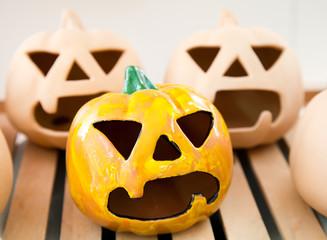 Halloween handmade candlestick: pumpkin face