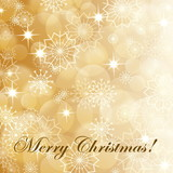 Gold christmas background with snowflakes and fireworks, EPS10