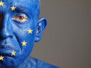 Man face painted with the flag of European Union 2