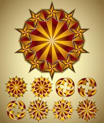 Stars symbols set, retro style.