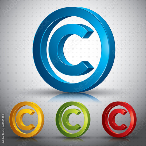 Copyright symbol 3d vector sign.
