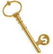 Key to money, golden key with dollar symbol.
