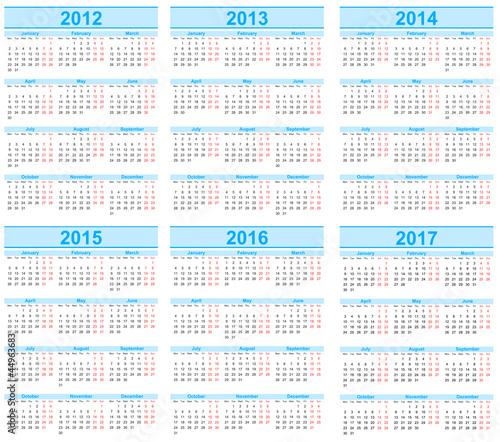 Вектор: Calendar 2012, 2013, 2014, 2015, 2016, 2017.