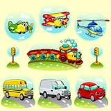 Funny vehicles with background. Vector illustration