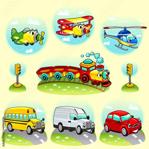 Śmieszne pojazdy z tłem. Ilustracja wektorowa