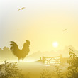 A Misty Morning Landscape with Cockerel, Rooster