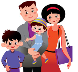 Happy family. Vector art-illustration on a white background.