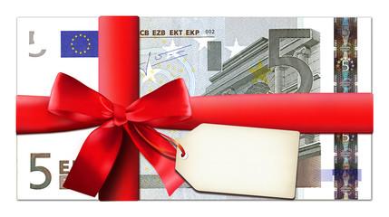 5 Euro mit roter Schleife und Etikett