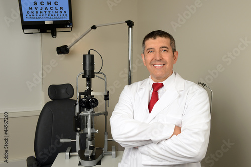 Hispanic Optician in Examination Room