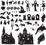 set of silhouettes symbolizing Halloween