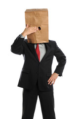 Businessman Hiding Behind Paper Bag
