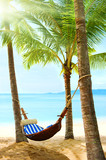Beautiful tropical beach with palm tree and sand - Fine Art prints