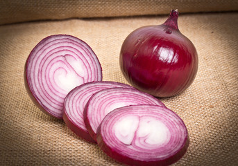 fresh onion on sacking