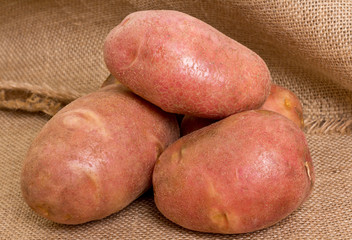 potatoes on sacking
