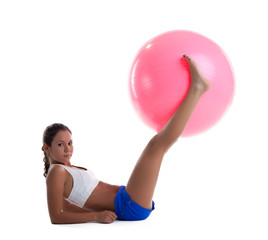 woman lay and take fitness ball with legs