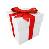 gift with red ribbon isolated on white