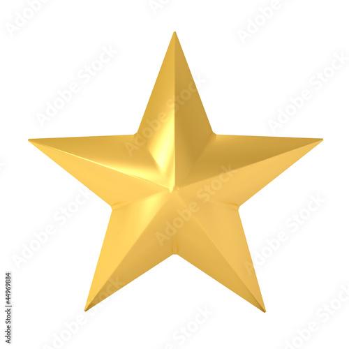Leinwandbild Motiv gold star isolated on white