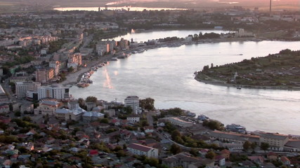 Aerial view of Tulcea city & Danube before flowing into the sea