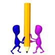 3d puppets balance on big yellow pencil