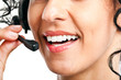 Closeup of a female call center operator