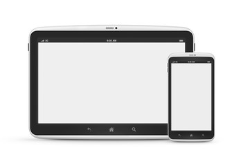 Digital tablet with mobile smart phone isolated