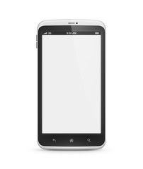 Modern mobile phone with blank screen isolated