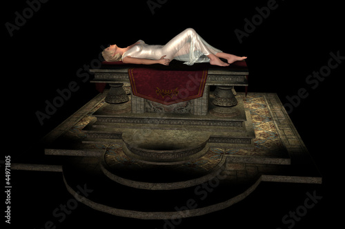 Sacrificial virgin on altar