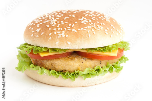 hamburger with cutlet and vegetables