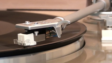 Turntable Playing Close Up