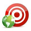 red target green globe illustration design over white