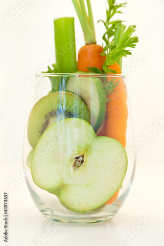 Green Smoothie. Abstract - fruit and vegetable in a glass.