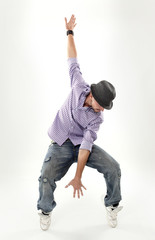 hip hop dancer isolated over white background