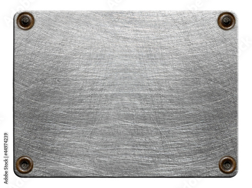 Scratched metal plate with rivets isolated
