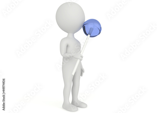 3d humanoid character hold a lollipop
