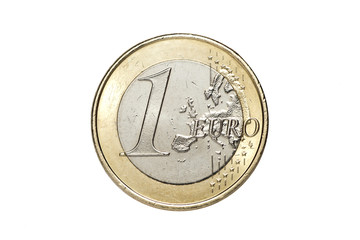 A one euro coin isolated on a white background