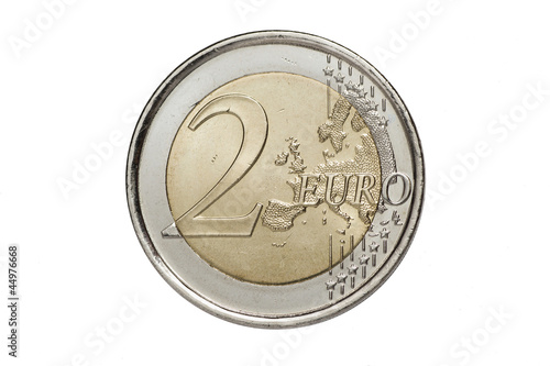 A two euros coin isolated on a white background