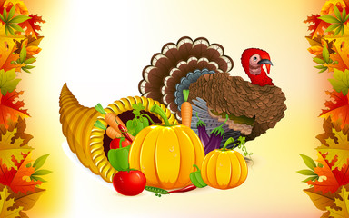 Thanksgiving Cornucopia with Turkey