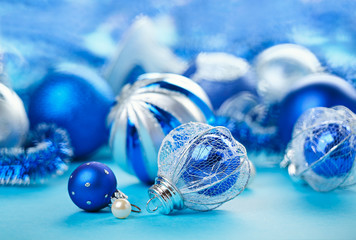 Christmas decoration balls on blue background