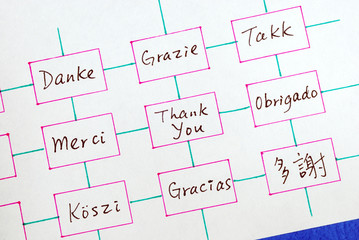 Thank You in different languages concepts of appreciation