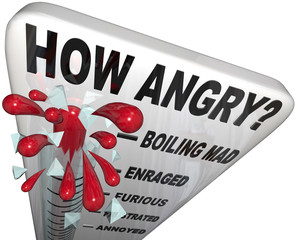 How Angry Thermometer Measure Anger Level Man Frustrated