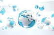 concepto de internet y mapa del mundo en tono azul