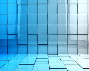 fondo abstracto 3d con cubos en tono azul © carloscastilla