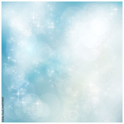 Silver blue winter, Christmas bokeh
