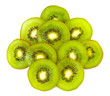 kiwi fruit slices background on white