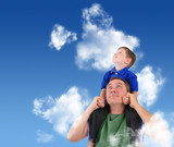 Father and Son Looking up in Cloud Sky